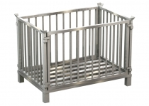 Stainless steel box pallet, box frame removable on all sides