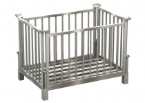 Stainless steel box pallet, for space-saving storage