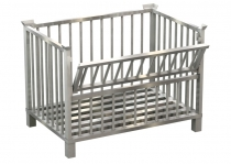 Stainless steel box pallet, one longitudinal side can be half-folded