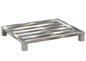 Aluminium flat pallet with longitudinal bars and confinement profile